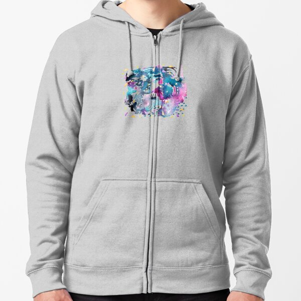 Night Sky Watercolor Pattern Zipped Hoodie