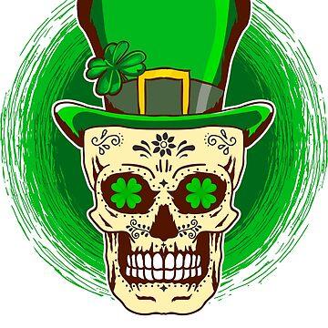 Saint Patricks Day Irish Sugar Skull T-Shirt by ginzburgpress