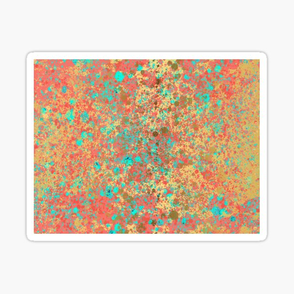 Living Coral, Turquoise and Patina Gold Design  Sticker