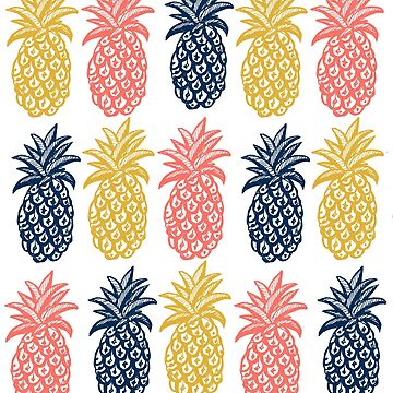 Coral, mustard and navy pineapple summer print  by MagentaRose