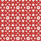 Red Kalos Kaleidoscopic Abstract Pattern by Jenny Meehan by Jenny Meehan