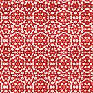 Red Kalos Four Kaleidoscopic Abstract Pattern by Jenny Meehan by Jenny Meehan