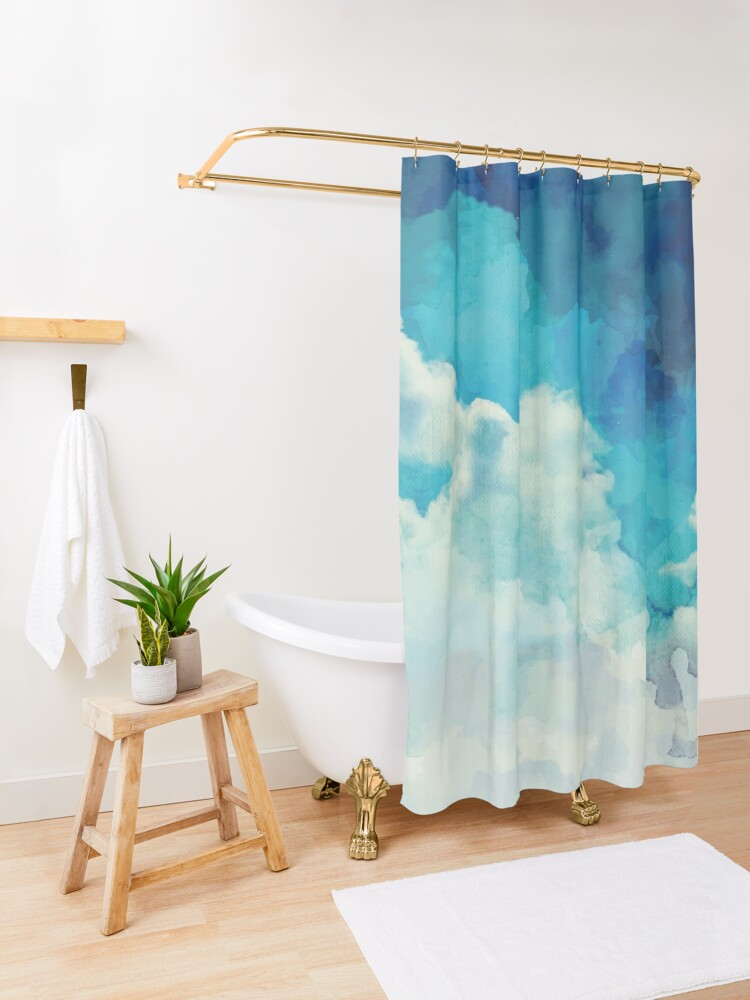 Alternate view of Above the clouds Shower Curtain