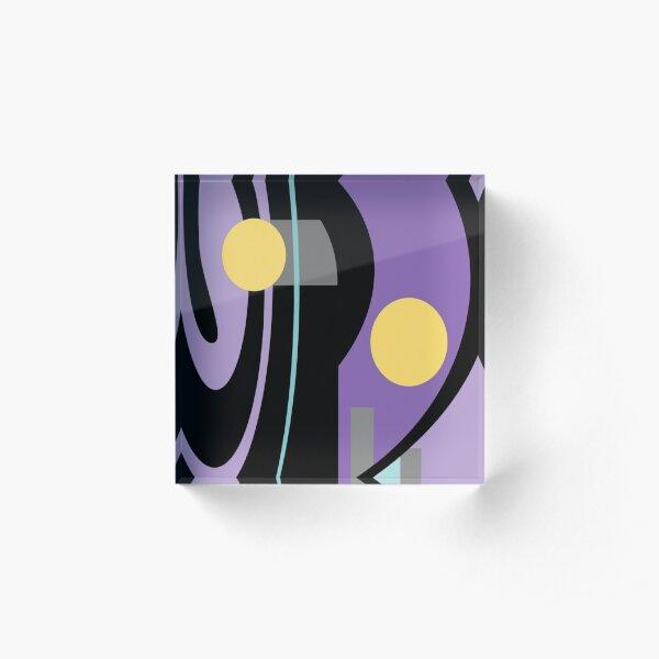 Mellow Yellow Moonshine Abstract on Purple - Jenny Meehan Acrylic Block