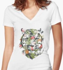 Tropical Tiger Women's Fitted V-Neck T-Shirt