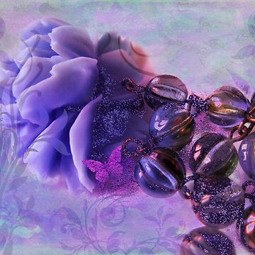 Purple Sunset Rose Pink Butterfly Fantasy Jewelry Art by Glimmersmith