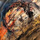 Original art work - Demon - Abstract acrylic painting  by Dea Poirier
