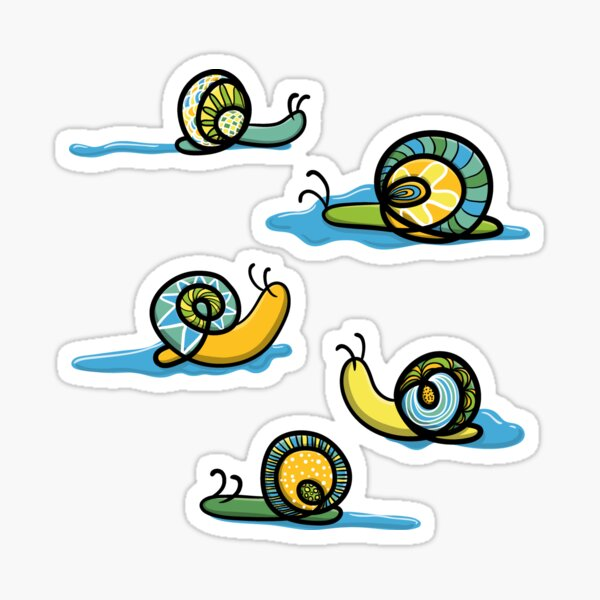 Zen snails with slime Sticker