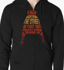A man walks down the street... Zipped Hoodie