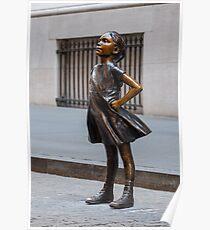 Furchtlose Mädchenstatue am NYSE-Gebäude Poster