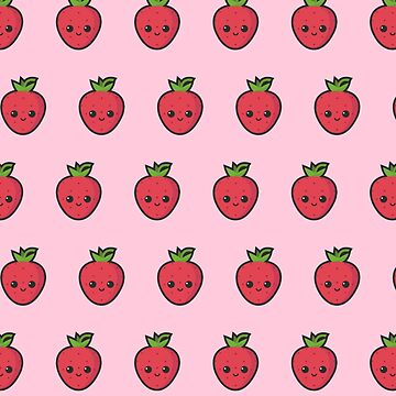 Cute small smiling strawberry pattern by love999