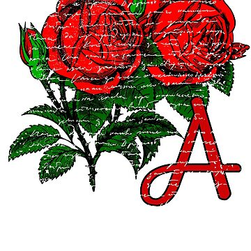 Red Roses Monogrammed Gifts Letter A by Shasta9876