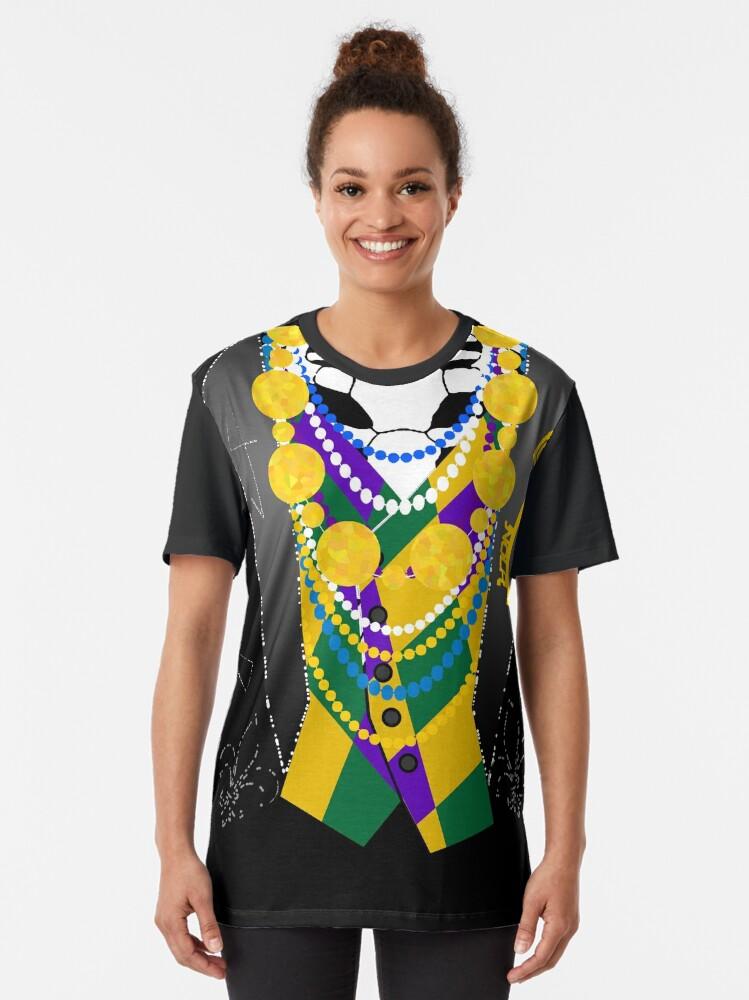 Alternate view of Darsana Prime Baron Samedi Mardi Gras Tuxedo Shirt Graphic T-Shirt