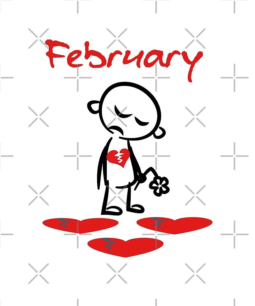 February Broken Hearted Sad Valentine Color by TinyStarAmerica