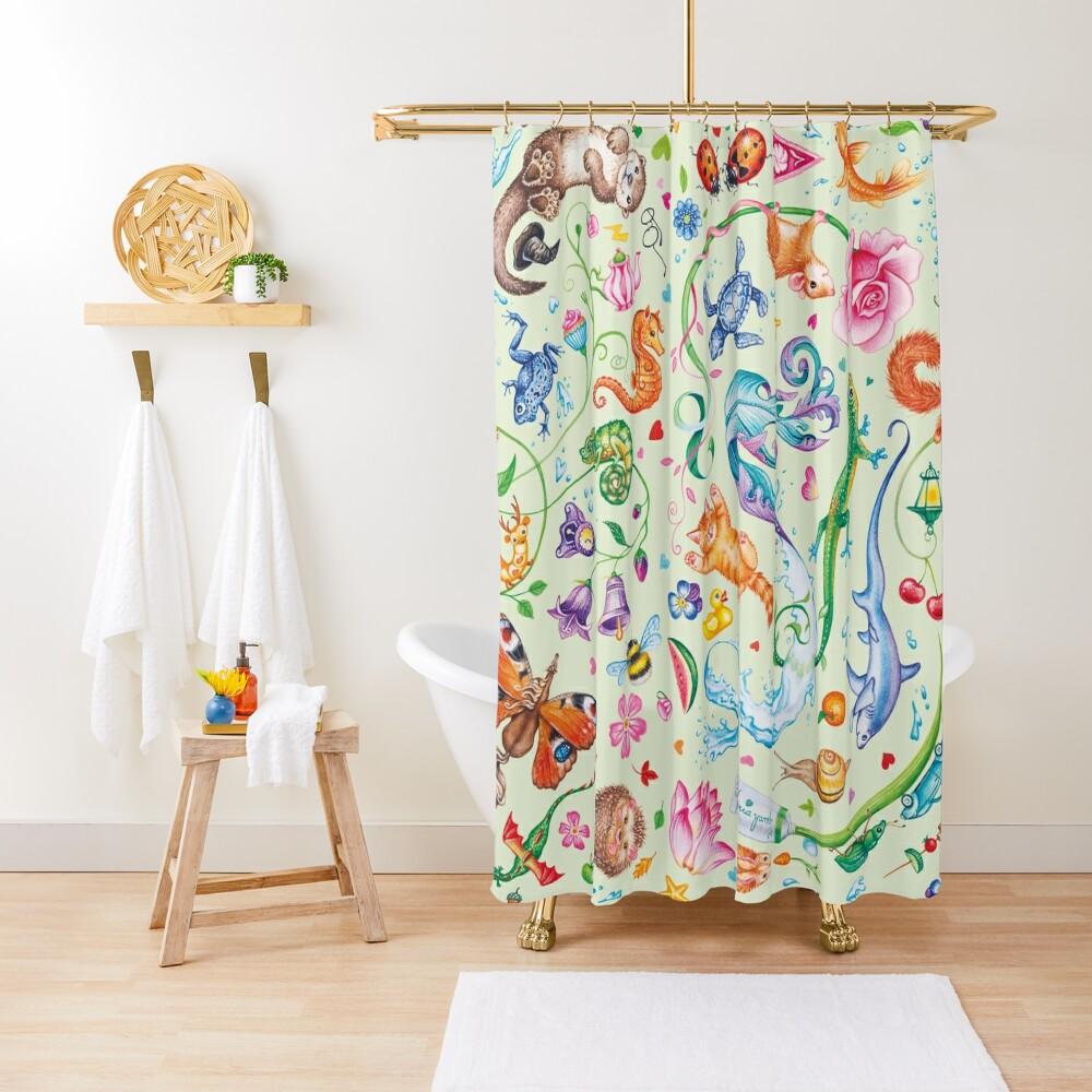 Green dreams by Maria Tiqwah Shower Curtain