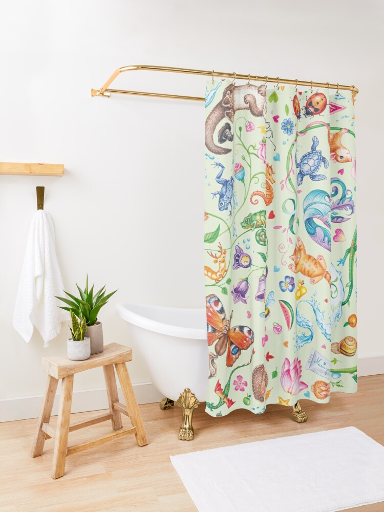 Alternate view of Green dreams by Maria Tiqwah Shower Curtain