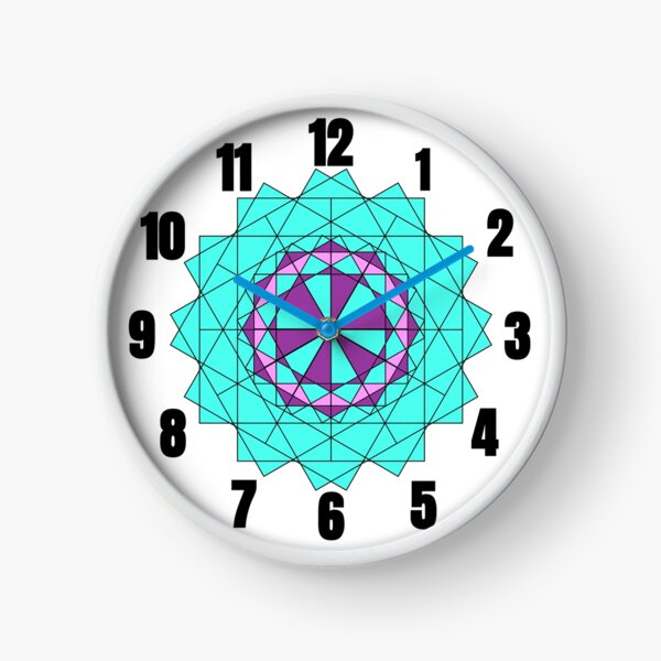 Unique Clocks: Purple Teal Geometric Clock Artwork Pattern With Numbers  Clock