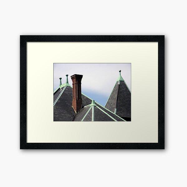 Slate and Verdi Gris Framed Art Print