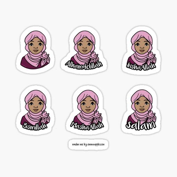 Original Muslim Me Pink Hijabi Cartoon Sticker