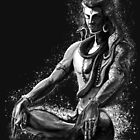 Majestic lord Shiva in Eternal meditation - Black and white  by A little more Whirl