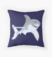 Great White Shark Fanciful Aquatic Watercolor Throw Pillow
