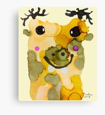 Happy Hippo painting for kid, children room, bed room Hippopotamus amphibius yellow and earth tone images Canvas Print