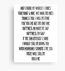Led Zeppelin Thank You Lyrics  Metal Print