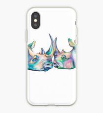 Vinilo o funda para iPhone Romance del rinoceronte del rinoceronte de Sumatran