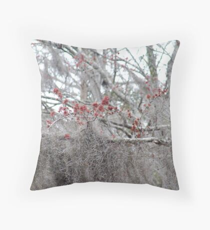 Maple Tree Buds and Spanish Moss Throw Pillow