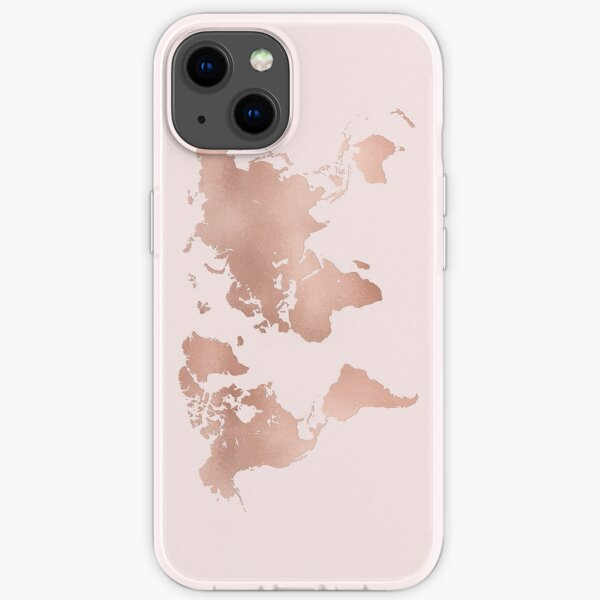 Rose Gold World Map iPhone Soft Case
