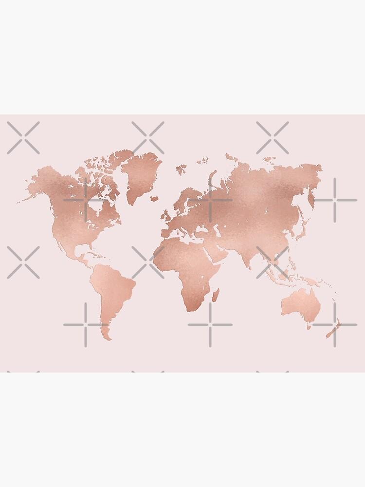 Rose Gold World Map by lolomastudio