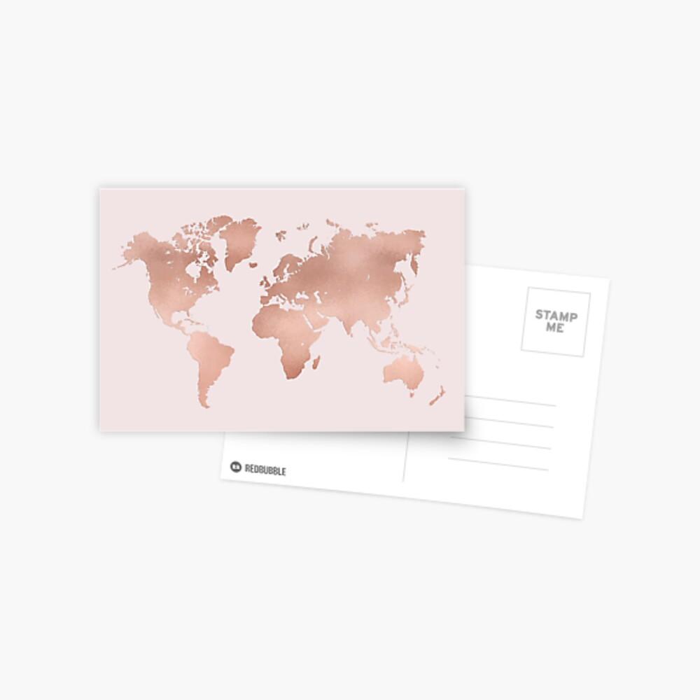 Rose Gold Weltkarte Postkarte