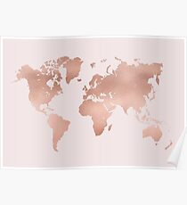 Gold World Map Poster.Pink World Map Posters Redbubble