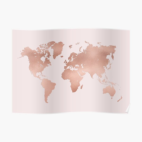 Rose Gold World Map Poster