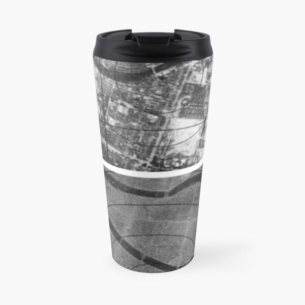 black and white, monochrome, pattern, abstract, design, shape, illustration, paper, city, street, vertical, photography, textured, no people, city street, urban road Travel Mug