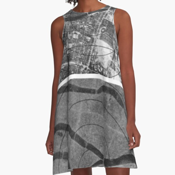 black and white, monochrome, pattern, abstract, design, shape, illustration, paper, city, street, vertical, photography, textured, no people, city street, urban road A-Line Dress