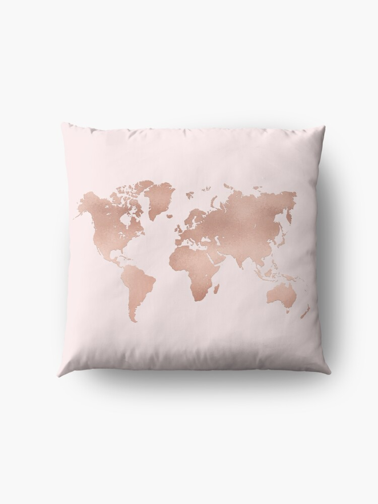 Alternative Ansicht von Rose Gold Weltkarte Bodenkissen