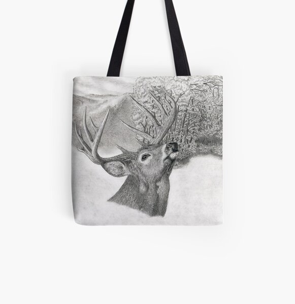 Elk in a Row Deer Hunter Hunting Grocery Travel Reusable Tote Bag