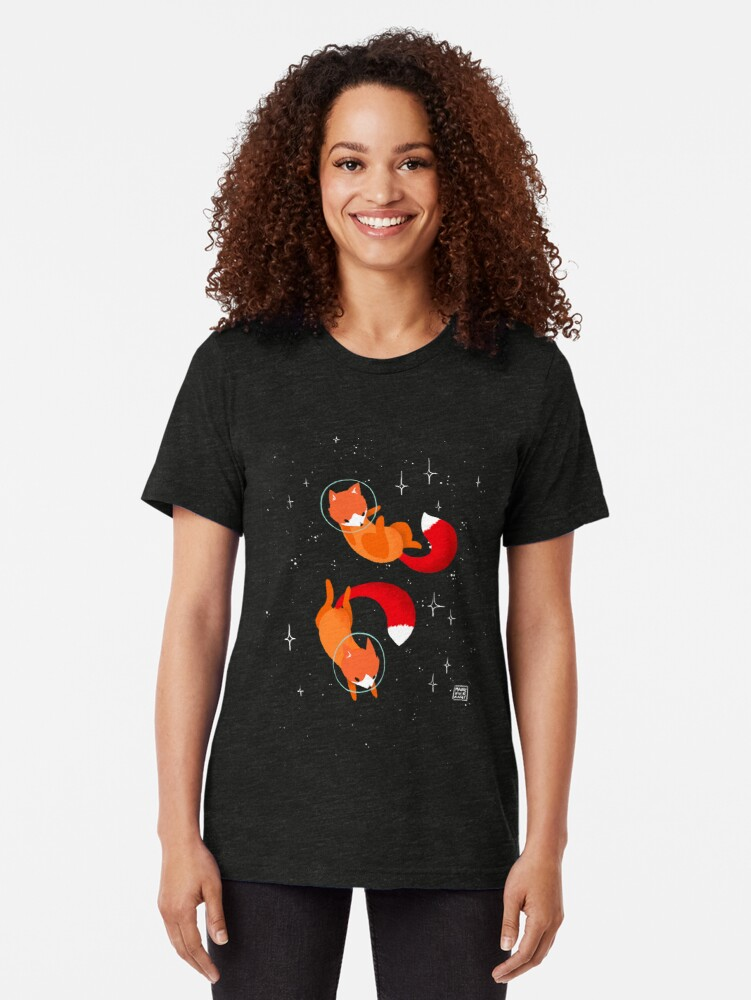 Alternate view of Space Foxes Tri-blend T-Shirt
