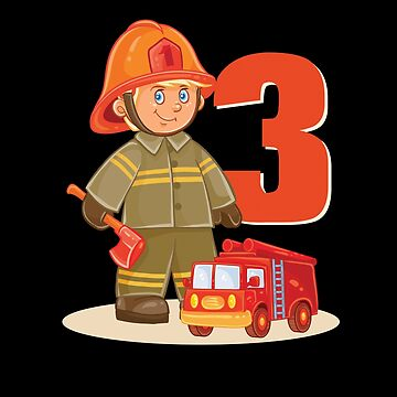 Fire Fighter Truck 3 Year Old Birthday Shirt 3Th 2005 by WWB2017