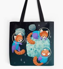 Red Space Pandas Tote Bag