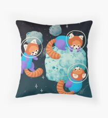 Red Space Pandas Throw Pillow