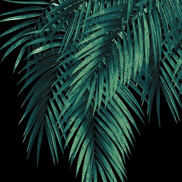 Palm Leaves Green Night Vibes #1 #tropical #decor #art by anitabellajantz