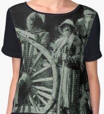 people, group, adult, military, engraving, horizontal, pattern, men, clothing, large group of people, crowd, only men, adults only Chiffon Top