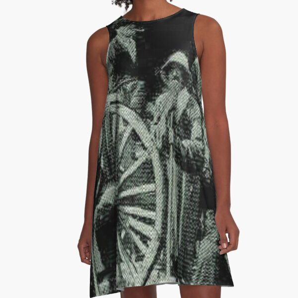 people, group, adult, military, engraving, horizontal, pattern, men, clothing, large group of people, crowd, only men, adults only A-Line Dress