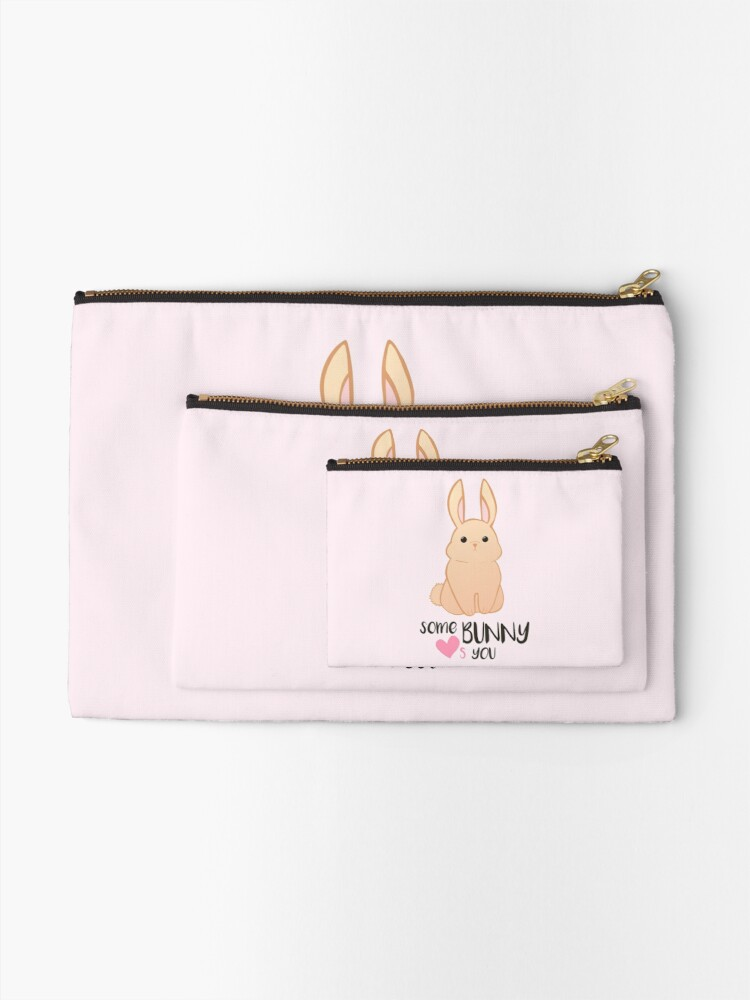 Alternate view of Some BUNNY loves you - Bunny Valentines - Valentine Puns - Rabbit Pun - Funny - Hilarious - Cute Zipper Pouch