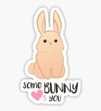Some BUNNY loves you - Bunny Valentines - Valentine Puns - Rabbit Pun - Funny - Hilarious - Cute Sticker