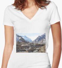 #Mountains, #road, #houses, #river, #mountain #village #Tawlula  #Karachay #Balkar #Къарачай #Малкъар #Qaraçay #Malqar #Tawlu #Karachays #Balkars  Women's Fitted V-Neck T-Shirt