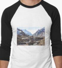#Mountains, #road, #houses, #river, #mountain #village #Tawlula  #Karachay #Balkar #Къарачай #Малкъар #Qaraçay #Malqar #Tawlu #Karachays #Balkars  Men's Baseball ¾ T-Shirt