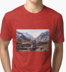 #Mountains, #road, #houses, #river, #mountain #village #Tawlula  #Karachay #Balkar #Къарачай #Малкъар #Qaraçay #Malqar #Tawlu #Karachays #Balkars  Tri-blend T-Shirt